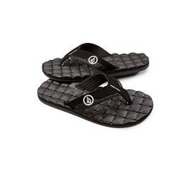 Volcom Men's Recliner FLIP Flop Sandal, Black/White, 14 B US