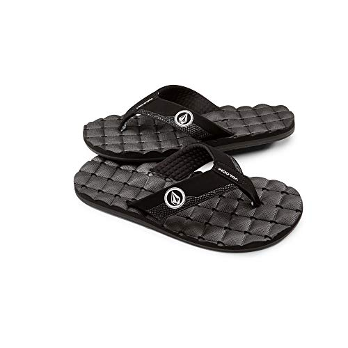 Volcom Men's Recliner FLIP Flop Sandal, Black/White, 14 B US