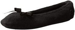 Isotoner Women's Terry Ballerina Slipper with Bow for Indoor/Outdoor Comfort, Black, Small ...