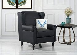DIVANO ROMA FURNITURE Classic Scroll Arm Faux Leather Accent Chair, Living Room Armchair (Black)