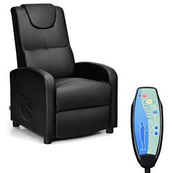 Giantex Massage Recliner Chair Single, Padded Seat Cushion and Foldable Footrest, PU Leather, Re ...