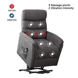 ANJ Power Lift Recliner Chair with Massage,Heat and Vibration – Living Room Chair – Gray