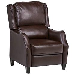 Ravenna Home Push Back Faux Wingback Leather Recliner, 29.9″W, Brown