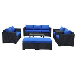 Patio PE Wicker Furniture Set -7 Pcs Outdoor Black Rattan Conversation Seat Couch Sofa Chair Set ...