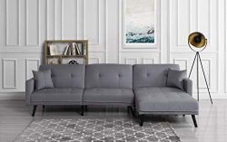 Futon Recliner Sleeper Sofa Bed/Couch, Convertible Futon Sofa Sectional with Chaise,(Sofa to Bed ...