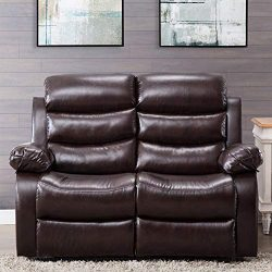 Harper&Bright Designs Classic Bonded Leather Sectional Recliner Sofa (Loveseat)