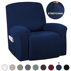 Recliner Slipcover With Pockets 1-Pieces Sofa Cover for Chair Recliner Cover Spandex Stretch Fur ...