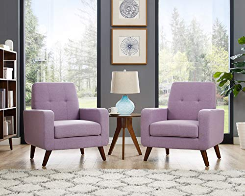 Dazone Modern Upholstered Accent Chair Comfy Armchair Tufted Button Linen Fabric Arm Chairs Set  ...
