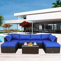 Outside Patio Furniture Brown Rattan Sofa Wicker Sectional Sofa Set Conversation Set Garden Couc ...