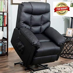 Harper&Bright Designs Power Lift Recliner Chair Upholstered PU Leather with Remote Control f ...
