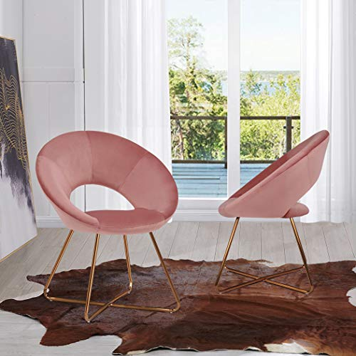Velvet Dining Chairs for Living Room, Modern Accent Leisure Upholstered Chairs Mid Century, Side ...