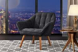 Accent Chair for Living Room, Linen Arm Chair with Tufted Detailing and Natural Wooden Legs (Dar ...