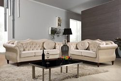 Container Furniture Direct S5368-2PC Carbon Velvet Upholstered Classic Chesterfield Sofa Set, 79 ...