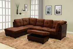 Beverly Fine Furniture F107A-3PC Sectional Sofa Set, Chocolate Brown