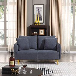 Honbay Modern Convertible Love seat Chenille Fabric Small Sofa Couch for Small Apartment lovesea ...