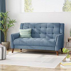 Christopher Knight Home 305543 Alisa Mid Century Modern Fabric Loveseat, Blue,