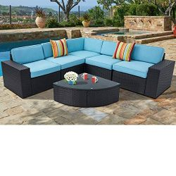 SUNCROWN Outdoor Furniture Sectional Sofa and Wedge Table (6-Piece Set) All-Weather Black Wicker ...