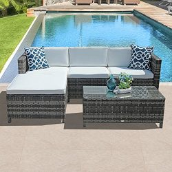 Patiorama 5pc Outdoor PE Wicker Rattan Sectional Furniture Set with Cream White Seat and Back Cu ...