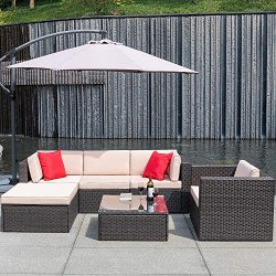 Flamaker 6 Pieces Patio Furniture Set Outdoor Sectional Sofa Outdoor Furniture Set Patio Sofa Se ...