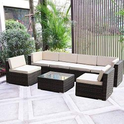 MAGIC UNION Outdoor Furniture Sectional Sofa Patio PE Rattan Wicker Cushion Cover 7 Pieces Sofa  ...