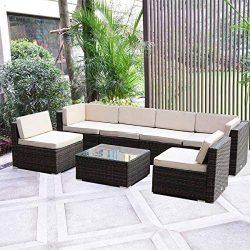 MAGIC UNION Outdoor Furniture Sectional Sofa Patio PE Rattan Wicker Cushion Cover 7 Pieces Sofa  ...