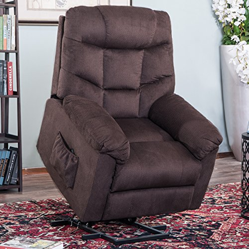 Power Lift Chair Recliner for Elderly Living Room Chair with Remote Control (Brown)
