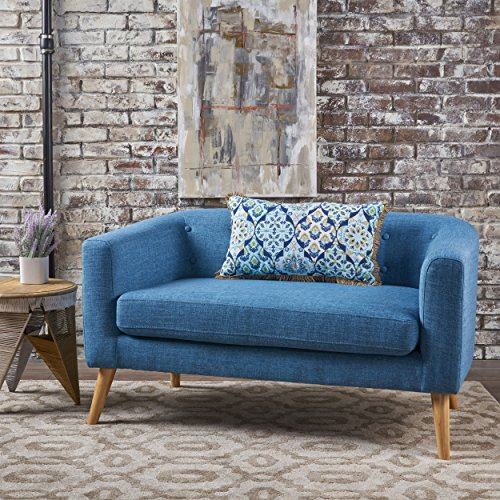 Christopher Knight Home 301293 Bron Yr AUR Button Back Mid Century Fabric Modern Loveseat (Muted ...