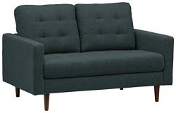 Rivet Cove Modern Tufted Loveseat with Tapered Legs, Mid-Century, 56″W, Denim