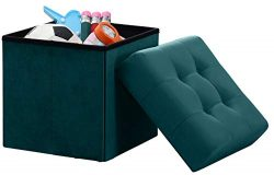 Ornavo Home Foldable Tufted Velvet Square Storage Ottoman Cube Foot Rest Stool/Seat – 15&# ...