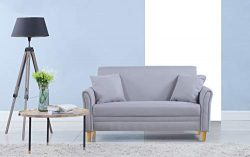 Divano Roma Furniture Modern 2 Tone Small Space Linen Fabric Loveseat (Light Grey)