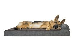 Furhaven Pet Dog Bed | Deluxe Orthopedic Quilted Fleece & Print Suede Chaise Lounge Sofa-Sty ...