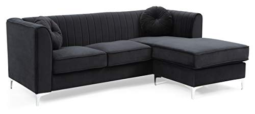 Glory Furniture Delray G793B-SC Sofa Chaise, Black. Living Room Furniture, 32″ H x 87̸ ...