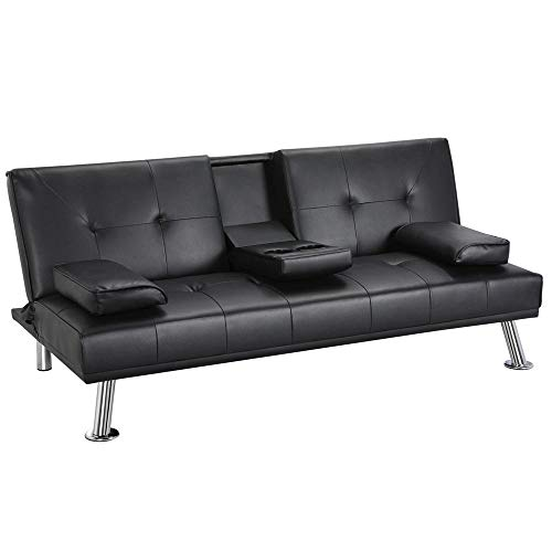 Yaheetech Futon Sofa Bed, Modern Faux Leather Couch, Convertible Sofa Bed with Armrest & Fol ...