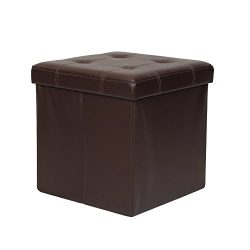 Otto & Ben 15″ Storage Folding Toy Box Chest with Memory Foam Seat Tufted Faux Leather ...
