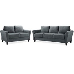 Home Square Transitional 2 Piece Sofa and Loveseat Set in Dark Gray