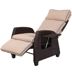 Grand Patio Indoor & Outdoor Recliner with All-Weather Wicker, Beige Cushion and Integrated  ...