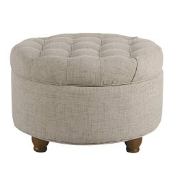 HomePop Large Button Tufted Round Storage Ottoman, Light Tan