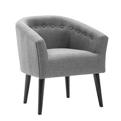 LSSBOUGHT Stylish Upholstered Button Tufted Fabric Living Room Accent Chair with Solid Wood Legs ...
