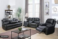 Lifestyle Furniture 3-Pieces Reclining Living Room Sofa Set,Drop Down Table,Bonded Leather,Black ...