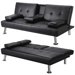 Yaheetech Futon Sofa Bed, Convertible Sofa Couch with Armrest Home Recliner Couch Home Furniture ...