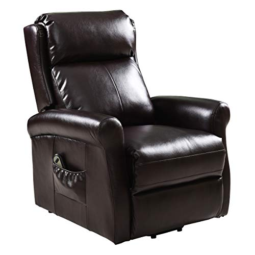 Tangkula Power Lift Chair Recliner, Electric Lounge Chair for Elderly, PU Leather Ergonomic Desi ...