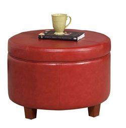 HomePop Round Leatherette Storage Ottoman with Lid, Cinnamon Red