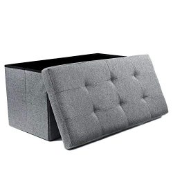 NISUNS OT03 Linen Fabric Folding Storage Ottoman Space Saving Storage Bench Toy Chest, Large Siz ...