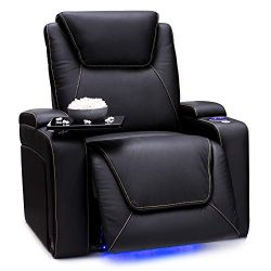Seatcraft Pantheon Big & Tall 400 lbs Capacity-Home Theater Seating Leather Recliner Powered ...