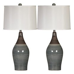 Ashley Furniture Signature Design –  Niobe Ceramic Table Lamp – Set of 2 – Mul ...