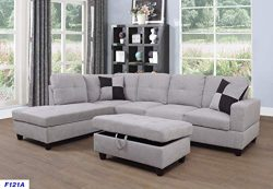 Lifestyle Furniture Left Facing 3PC Sectional Sofa Set,Flannelette,Grey White(LSF121A)
