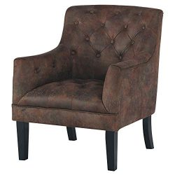 Ashley Furniture Signature Design – Drakelle Accent Chair – Distressed Brown Faux Le ...