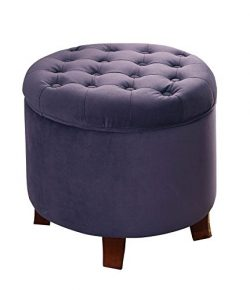 HomePop Velvet Button Tufted Round Storage Ottoman with Removable Lid, Purple