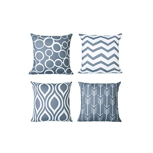 Hurrybuy Modern Simple Geometric Square Cushion Covers for Sofa, Bed, 18 x 18 Inches, Set of 4 T ...
