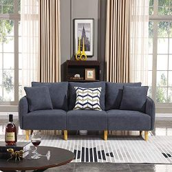 Honbay Modern Convertible 3 seat Sofa Chenille Fabric Small Sofa Couch for Small Apartment Sette ...